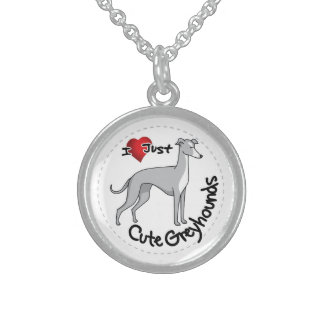 I Love My Happy Adorable Funny & Cute Greyhound Do Sterling Silver Necklace