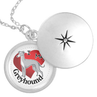I Love My Happy Adorable Funny & Cute Greyhound Locket Necklace