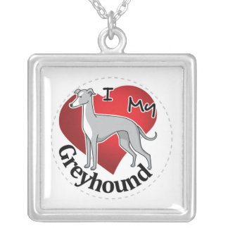 I Love My Happy Adorable Funny & Cute Greyhound Silver Plated Necklace