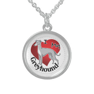 I Love My Happy Adorable Funny & Cute Greyhound Sterling Silver Necklace