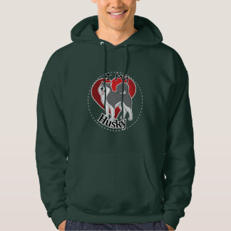 I Love My Happy Adorable Funny & Cute Husky Dog Hoodie