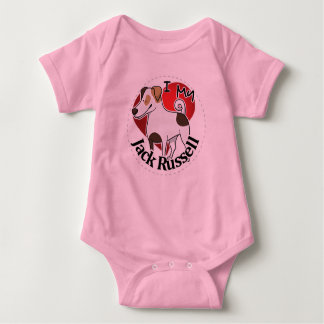 I Love My Happy Adorable Funny & Cute Jack Russell Baby Bodysuit