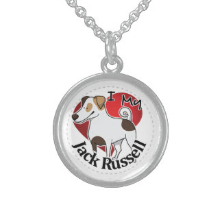 I Love My Happy Adorable Funny & Cute Jack Russell Sterling Silver Necklace