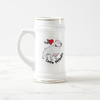 I Love My Happy Adorable Funny & Cute Pitbull Dog Beer Stein