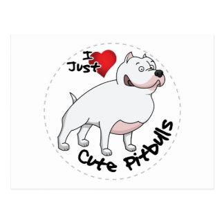 I Love My Happy Adorable Funny & Cute Pitbull Dog Postcard