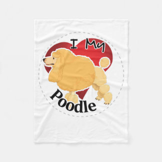 I Love My Happy Adorable Funny & Cute Poodle Dog Fleece Blanket