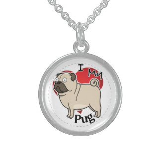 I Love My Happy Adorable Funny & Cute Pug Dog Sterling Silver Necklace