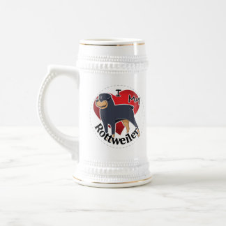 I Love My Happy Adorable Funny & Cute Rottweiler Beer Stein