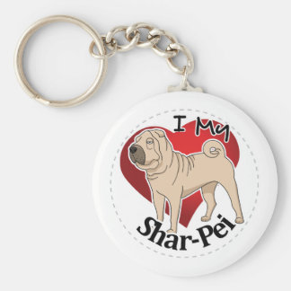I Love My Happy Adorable Funny & Cute Shar-Pei Dog Basic Round Button Key Ring