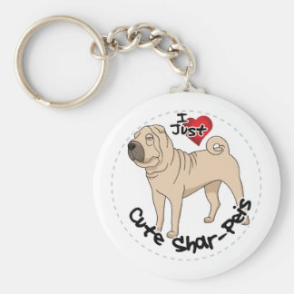 I Love My Happy Adorable Funny & Cute Shar Pei Dog Basic Round Button Key Ring