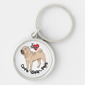 I Love My Happy Adorable Funny & Cute Shar Pei Dog Silver-Colored Round Key Ring
