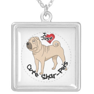 I Love My Happy Adorable Funny & Cute Shar Pei Dog Silver Plated Necklace