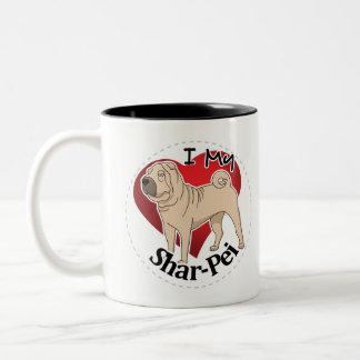 I Love My Happy Adorable Funny & Cute Shar-Pei Dog Two-Tone Coffee Mug