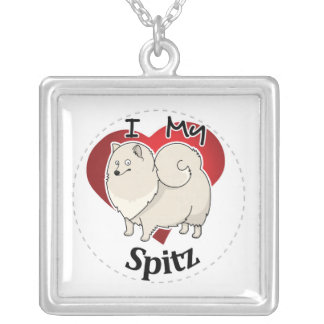 I Love My Happy Adorable Funny & Cute Spitz Dog Silver Plated Necklace