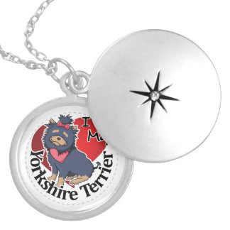 I Love My Happy Adorable Funny & Cute Yorkie Dog Silver Plated Necklace