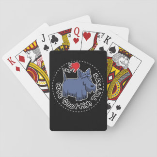 I Love My Happy Funny & Cute Scottish Terrier Playing Cards