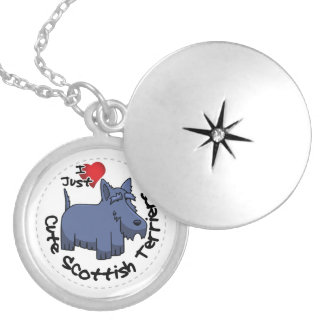 I Love My Happy Funny & Cute Scottish Terrier Silver Plated Necklace