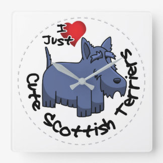 I Love My Happy Funny & Cute Scottish Terrier Square Wall Clock