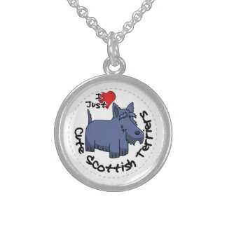 I Love My Happy Funny & Cute Scottish Terrier Sterling Silver Necklace