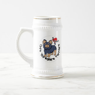 I Love My Happy Funny & Cute Yorkshire Terrier Beer Stein