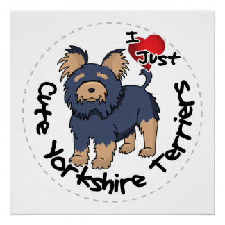 I Love My Happy Funny & Cute Yorkshire Terrier Poster