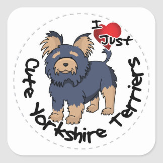 I Love My Happy Funny & Cute Yorkshire Terrier Square Sticker