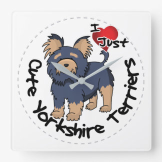 I Love My Happy Funny & Cute Yorkshire Terrier Square Wall Clock