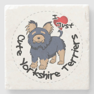 I Love My Happy Funny & Cute Yorkshire Terrier Stone Beverage Coaster