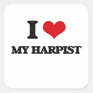 I Love My Harpist Square Sticker