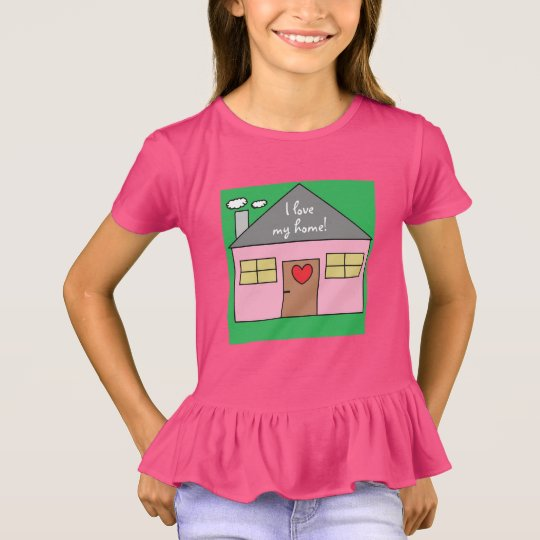 I love my home Adorable Pink House Child Drawing T-Shirt