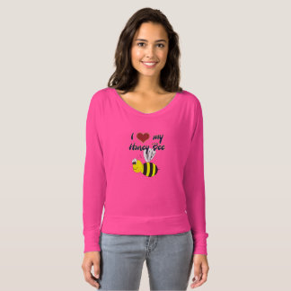 I-Love my Honey Bee Pink Flowy Off Shoulder Shirt