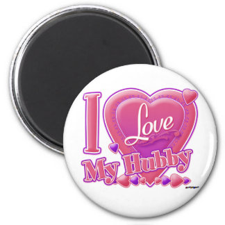 I Love My Hubby pink/purple - heart 6 Cm Round Magnet