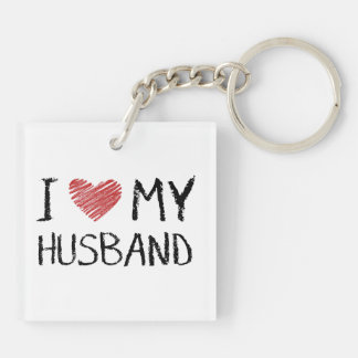 I Love My Husband Double-Sided Square Acrylic Key Ring