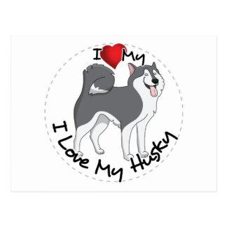 I Love My Husky Dog Postcard