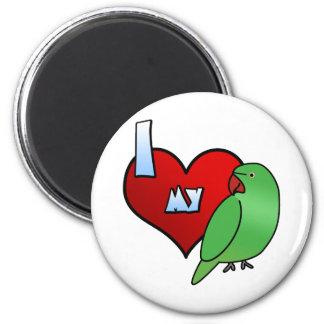 I Love my Indian Ringneck Parakeet Hen 6 Cm Round Magnet