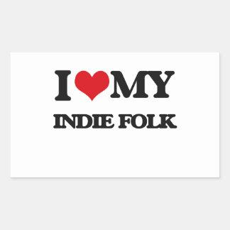 I Love My INDIE FOLK Rectangular Sticker