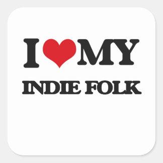 I Love My INDIE FOLK Stickers