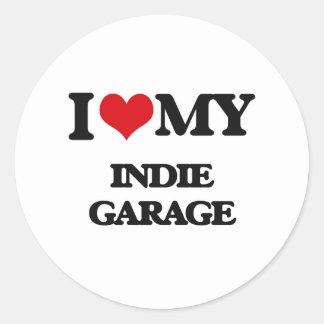 I Love My INDIE GARAGE Round Stickers