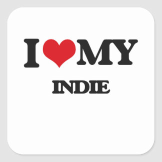 I Love My INDIE Square Stickers