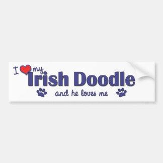 I Love My Irish Doodle (Male Dog) Car Bumper Sticker