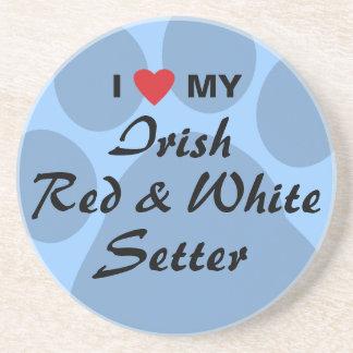 I Love My Irish Red and White Setter Drink Coaster