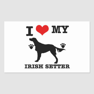 I Love my irish setter Rectangular Sticker