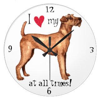 I Love my Irish Terrier Large Clock
