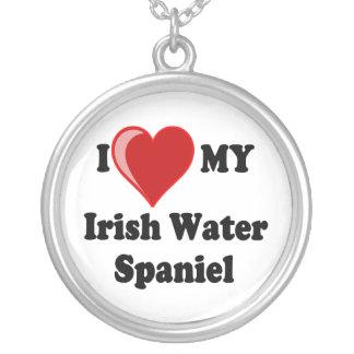 I Love My Irish Water Spaniel Dog Silver Necklace Round Pendant Necklace