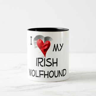 I Love My Irish Wolfhound Two-Tone Coffee Mug