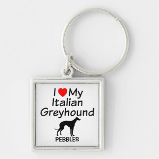 I Love My Italian Greyhound Dog Keychain