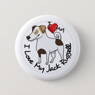 I Love My Jack Russell Dog 6 Cm Round Badge