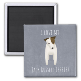 I love my Jack Russell Terrier cute dog head tilt Square Magnet