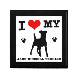 I Love my Jack Russell Terrier Small Square Gift Box