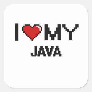 I Love My Java Digital design Square Sticker